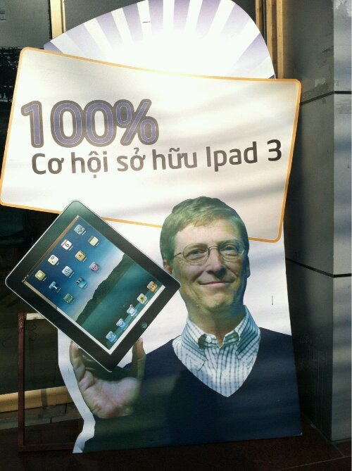 Precies, de beste endorser voor de iPad 3 is Bill Gates