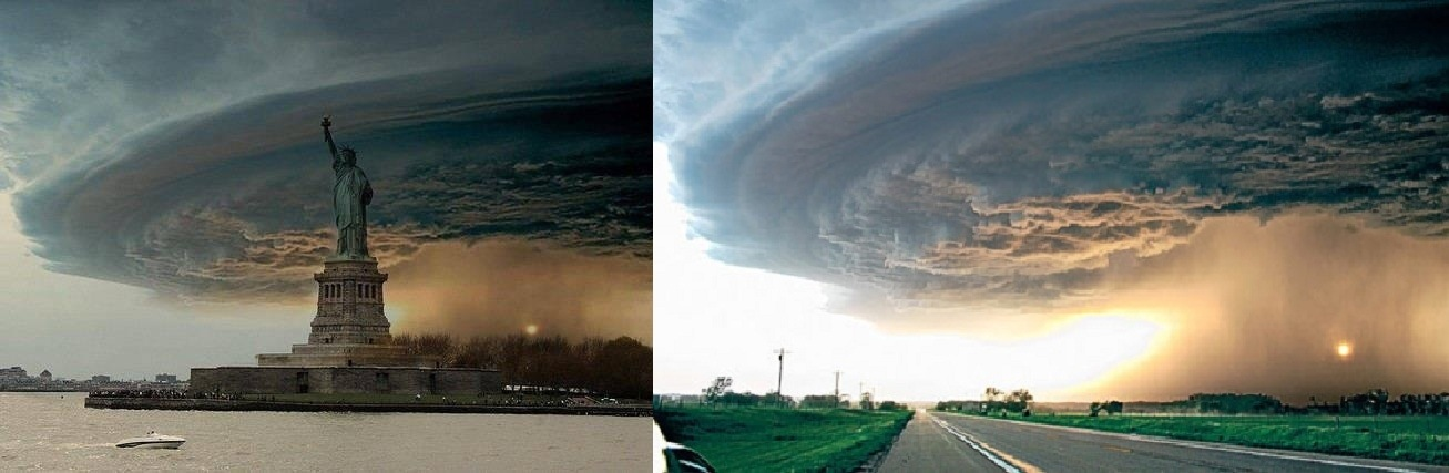 Het Vrijheidsbeeld met de donkere lucht van orkaan Sandy en de originele foto van de wolken.