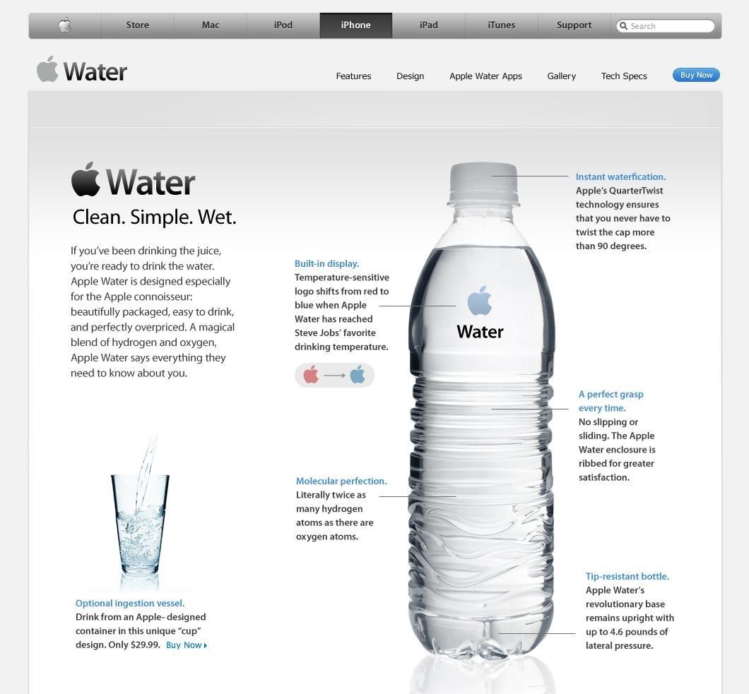 iWater. Als Apple water gaat verkopen, ziet dat er zo uit.