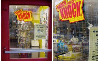 Comic shop outdoor knock