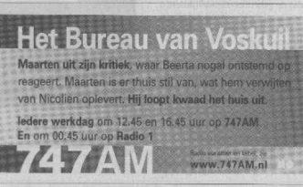 Bureau advertentie hoorspel vrijdag 9 april 2004 (vijfde dag van het hoorspel)