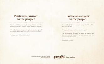 gandhi_bookstores twee verhalen Politicians answer to the people