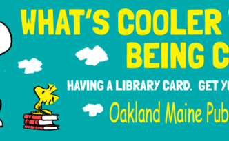 snoopy library card oakland maine public library