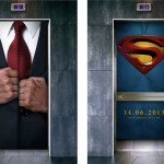 Advertentie voor Superman in de lift