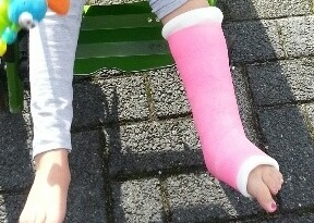 Been in het gips vierkant