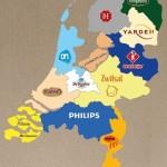 Sterke merken per provincie op de kaart.