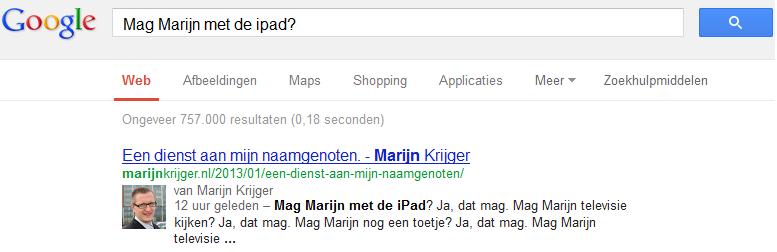 Zoekresultaat Google, Mag Marijn met de iPad. Ja, dat mag.