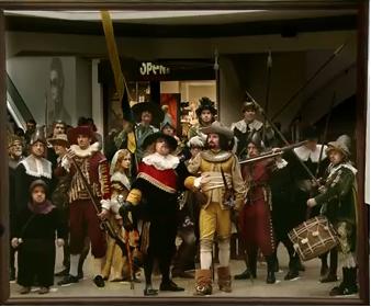 Nachtwacht, De compagnie van kapitein Frans Banning Cocq en luitenant Willem van Ruytenburgh maakt zich gereed om uit te marcheren. ING en het Rijksmuseum.