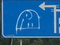 Olifant op verkeersbord