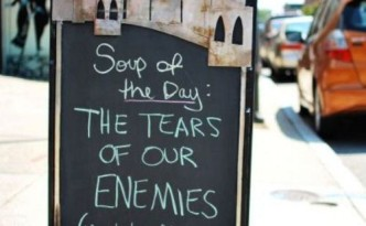 Stoepbord, soup of the day, the tears of our enemies (we also have black bean soup)