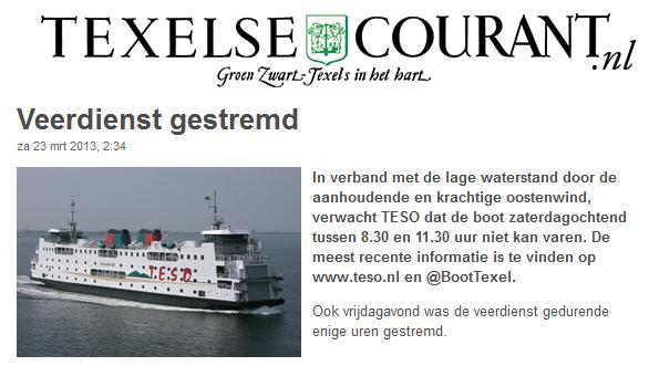 Texelse Courant, Veerdienst gestremd 23-3-2013