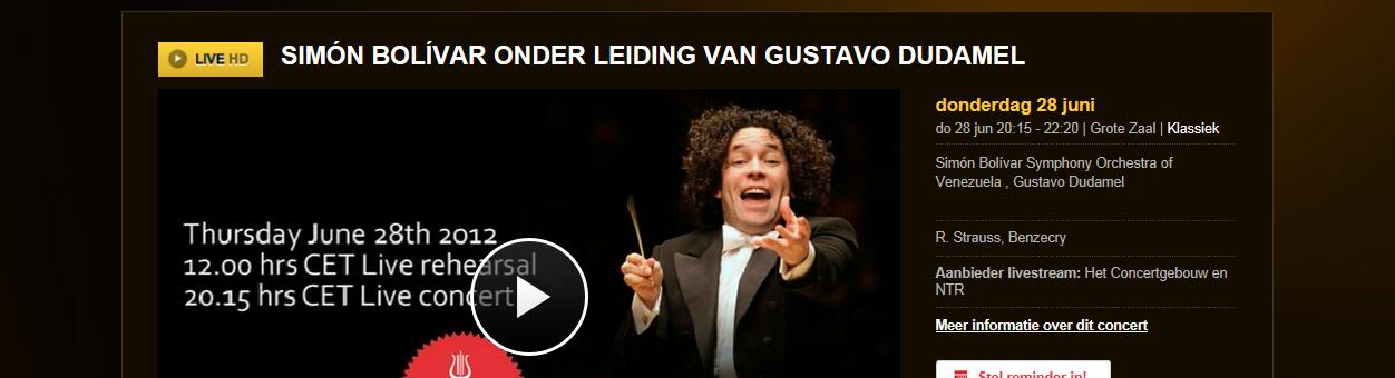 Concertgebouw live, livestream
