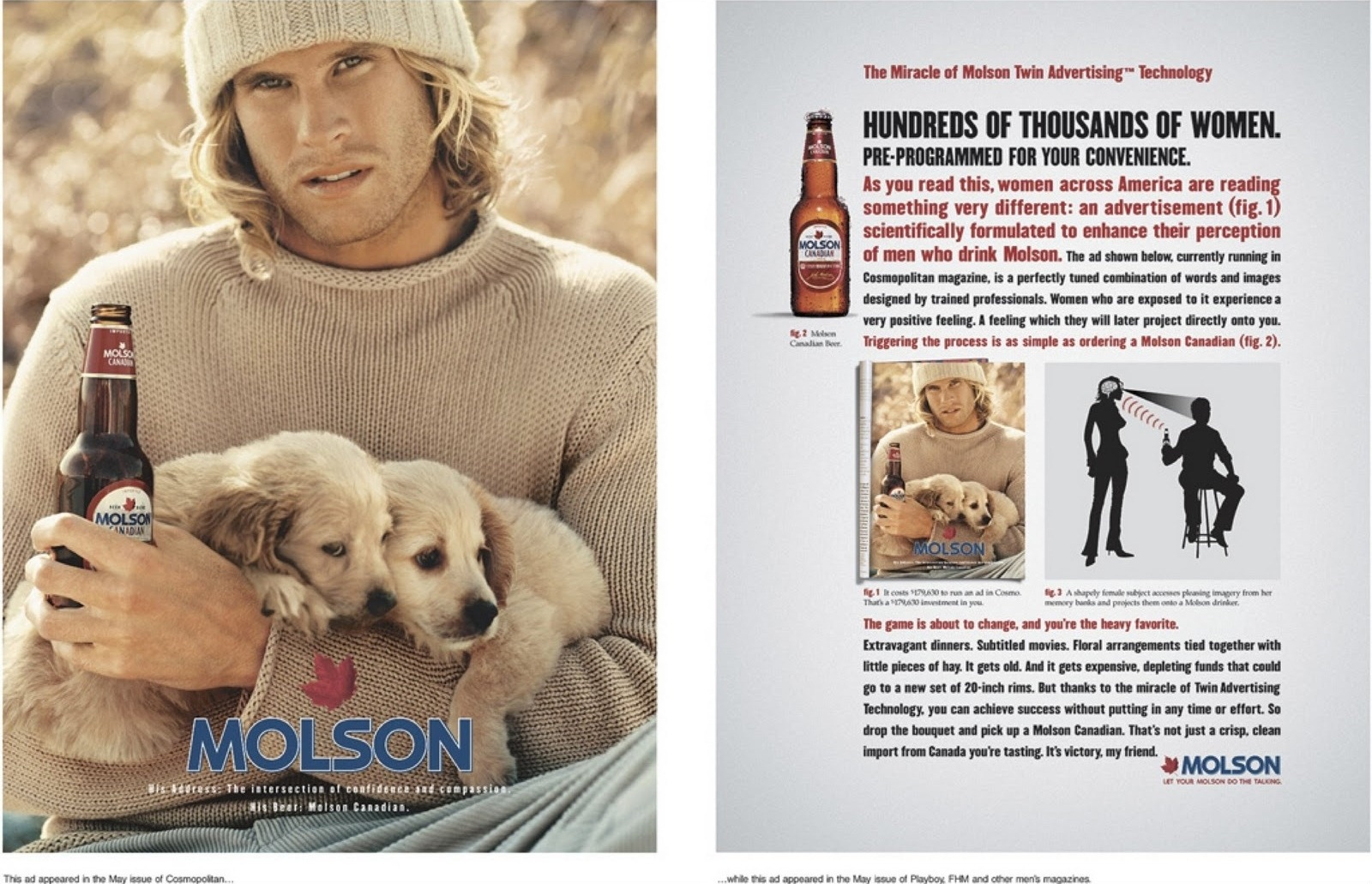 Molson, advertenties voor vrouwen en mannen