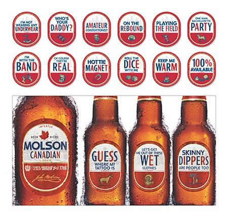 Molson etiketten op bierfles, conversationstarter