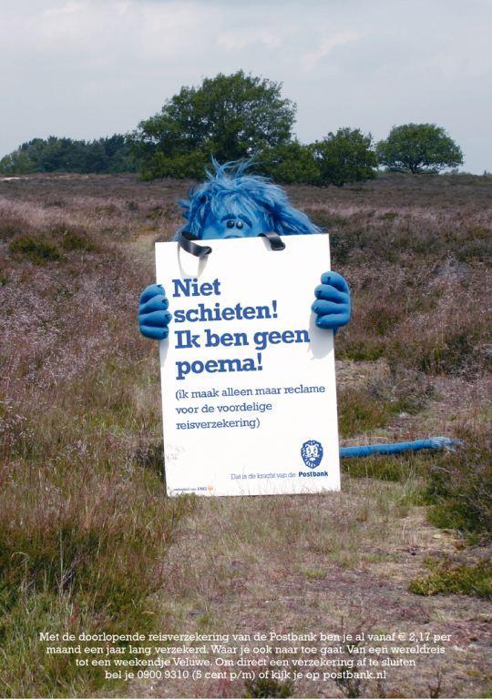 Advertentie van de Postbank, inhaker op de Poema op de Veluwe (2005)