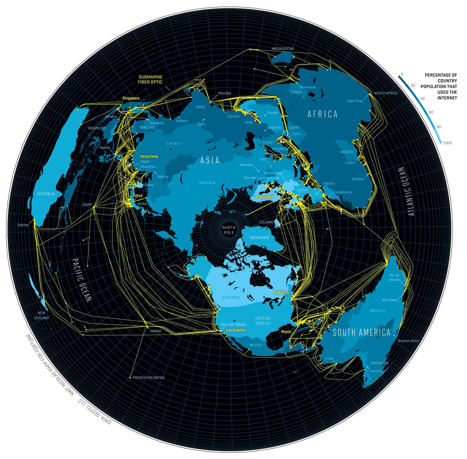 Internetkaart van de wereld