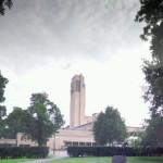Donkere wolken boven het Raadhuis in Hilversum