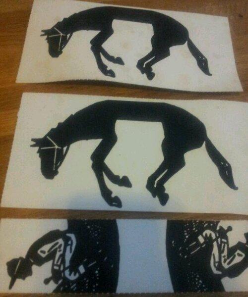 Puzzel, twee paarden, twee ruiters