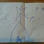 Mijn zoon van zes tekent een kerststal
