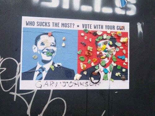 Kauwgom als rood potlood, verkiezingen, Barack Obama en Mitt Romney